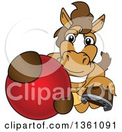 Clipart Of A Horse Colt Bronco Stallion Or Mustang School Mascot Character Grabbing A Ball Royalty Free Vector Illustration by Toons4Biz