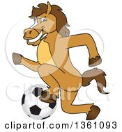 Clipart Of A Horse Colt Bronco Stallion Or Mustang School Mascot Character Playing Soccer Royalty Free Vector Illustration by Toons4Biz