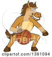Clipart Of A Horse Colt Bronco Stallion Or Mustang School Mascot Character Dribbling A Basketball Royalty Free Vector Illustration