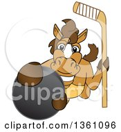 Clipart Of A Horse Colt Bronco Stallion Or Mustang School Mascot Character Holding A Stick And Grabbing A Hockey Puck Royalty Free Vector Illustration by Toons4Biz