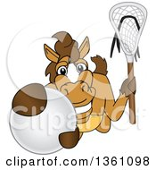 Clipart Of A Horse Colt Bronco Stallion Or Mustang School Mascot Character Holding A Stick And Grabbing A Lacrosse Ball Royalty Free Vector Illustration by Toons4Biz