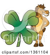 Clipart Of A Horse Colt Bronco Stallion Or Mustang School Mascot Character Posing With A Giant Lucky Four Leaf St Patricks Day Clover Royalty Free Vector Illustration by Toons4Biz