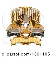 Clipart Of A Horse Colt Bronco Stallion Or Mustang School Mascot Character Leaping Out Of A Shield With A Blank Banner And Text Royalty Free Vector Illustration by Toons4Biz