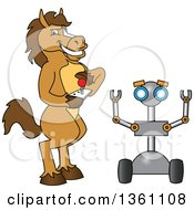 Clipart Of A Horse Colt Bronco Stallion Or Mustang School Mascot Character Student Operating A Robot Royalty Free Vector Illustration by Toons4Biz