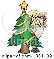 Clipart Of A Ram School Mascot Character Smiling Around A Christmas Tree Royalty Free Vector Illustration by Toons4Biz