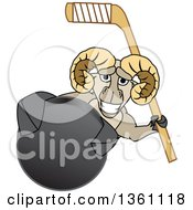 Clipart Of A Ram School Mascot Character Holding A Stick And Grabbing A Hockey Puck Royalty Free Vector Illustration by Toons4Biz