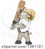 Clipart Of A Ram School Mascot Character With A Baseball Bat Royalty Free Vector Illustration