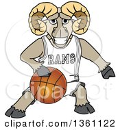 Clipart Of A Ram School Mascot Character Dribbling A Basketball Royalty Free Vector Illustration