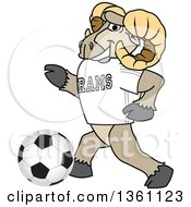 Clipart Of A Ram School Mascot Character Playing Soccer Royalty Free Vector Illustration
