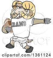 Clipart Of A Ram School Mascot Character Running With An American Football Royalty Free Vector Illustration