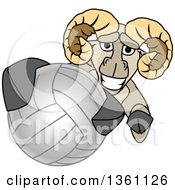Clipart Of A Ram School Mascot Character Grabbing A Volleyball Royalty Free Vector Illustration by Toons4Biz