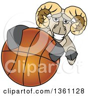Clipart Of A Ram School Mascot Character Grabbing A Basketball Royalty Free Vector Illustration by Toons4Biz