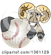 Clipart Of A Ram School Mascot Character Grabbing A Baseball Royalty Free Vector Illustration by Toons4Biz