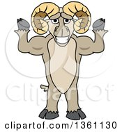Clipart Of A Ram School Mascot Character Flexing His Muscles Royalty Free Vector Illustration by Toons4Biz