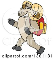 Clipart Of A Ram School Mascot Character Student Walking With A Backpack Royalty Free Vector Illustration by Toons4Biz