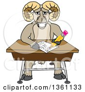 Clipart Of A Ram School Mascot Character Student Taking A Quiz At A Desk Royalty Free Vector Illustration