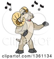 Clipart Of A Ram School Mascot Character Singing Royalty Free Vector Illustration
