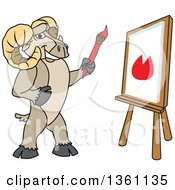 Clipart Of A Ram School Mascot Character Student Painting On Canvas Royalty Free Vector Illustration