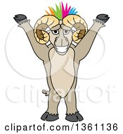 Clipart Of A Cheering Ram School Mascot Character With A Colorful Mohawk Royalty Free Vector Illustration