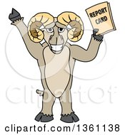 Clipart Of A Ram School Mascot Character Student Holding A Report Card Royalty Free Vector Illustration by Toons4Biz