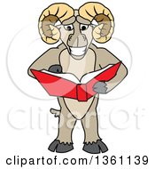 Clipart Of A Ram School Mascot Character Student Reading A Book Royalty Free Vector Illustration by Toons4Biz