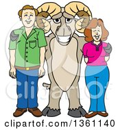 Clipart Of A Ram School Mascot Character Posing With Parents Royalty Free Vector Illustration