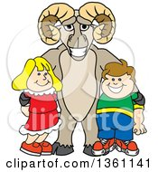 Clipart Of A Ram School Mascot Character Posing With Students Royalty Free Vector Illustration by Toons4Biz