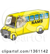Clipart Of A Ram School Mascot Character Waving And Driving A Bus Royalty Free Vector Illustration