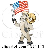 Clipart Of A Ram School Mascot Character Holding An American Flag Royalty Free Vector Illustration by Toons4Biz