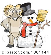Clipart Of A Ram School Mascot Character Posing With A Christmas Snowman Royalty Free Vector Illustration by Toons4Biz