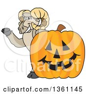 Clipart Of A Ram School Mascot Character Waving By A Jackolantern Royalty Free Vector Illustration by Toons4Biz