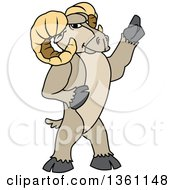 Clipart Of A Ram School Mascot Character Holding Up A Finger Royalty Free Vector Illustration
