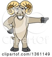 Clipart Of A Ram School Mascot Character Pointing Royalty Free Vector Illustration