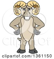 Clipart Of A Ram School Mascot Character Standing Upright With Hands On His Hips Royalty Free Vector Illustration by Toons4Biz