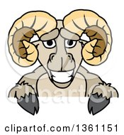Clipart Of A Ram School Mascot Character Over A Sign Royalty Free Vector Illustration by Toons4Biz