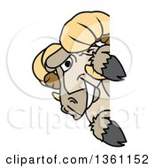 Clipart Of A Ram School Mascot Character Looking Around A Sign Royalty Free Vector Illustration by Toons4Biz