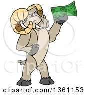 Clipart Of A Ram School Mascot Character Holding Cash Money Royalty Free Vector Illustration by Toons4Biz