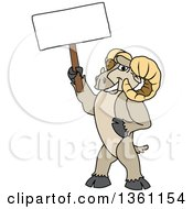 Clipart Of A Ram School Mascot Character Holding A Blank Sign Royalty Free Vector Illustration by Toons4Biz