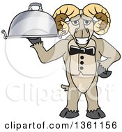 Clipart Of A Ram School Mascot Character Waiter Holding A Cloche Platter Royalty Free Vector Illustration by Toons4Biz
