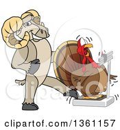 Clipart Of A Ram School Mascot Character Tricking A Turkey Standing On A Scale Royalty Free Vector Illustration
