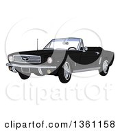Cartoon Black Convertible 64 Ford Mustang Muscle Car