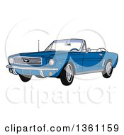 Cartoon Blue Convertible 64 Ford Mustang Muscle Car