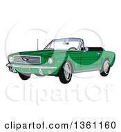 Cartoon Green Convertible 64 Ford Mustang Muscle Car