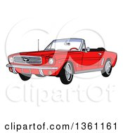 Cartoon Red Convertible 64 Ford Mustang Muscle Car