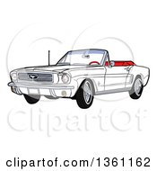 Cartoon White Convertible 64 Ford Mustang Muscle Car