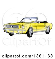 Cartoon Yellow Convertible 64 Ford Mustang Muscle Car