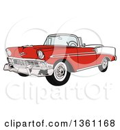 Clipart Of A Cartoon Red And White 1956 Chevrolet Bel Air Classic Convertible Car Royalty Free Vector Illustration