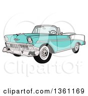 Clipart Of A Cartoon Light Blue 1956 Chevrolet Bel Air Classic Convertible Car Royalty Free Vector Illustration