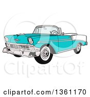 Cartoon Blue 1956 Chevrolet Bel Air Classic Convertible Car