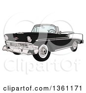 Cartoon Black And White 1956 Chevrolet Bel Air Classic Convertible Car